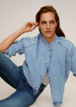 MANGO Denim bomber jacket in light blue REF. 67085134-BOMBER-LM