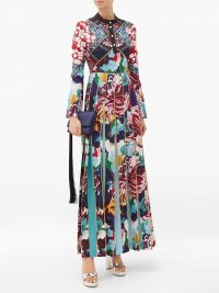 MARY KATRANTZOU Desmine pleated baroque-print crepe dress – mixed prints – pleated maxi dresses