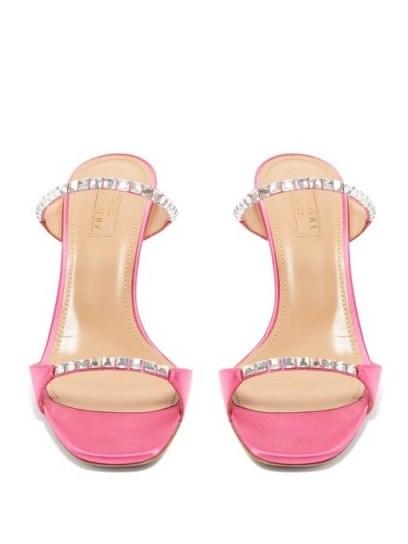 AQUAZZURA Diamante 75 crystal-embellished satin mules in pink - flipped