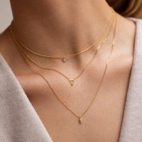 Astrid & Miyu Diamond Bar Necklace in Gold / dainty pendant necklaces