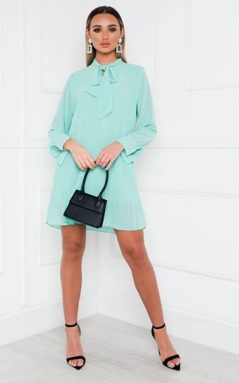 Ikrush Dianna Pleated Bow Shift Dress in Mint – green dresses