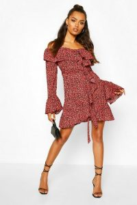 Boohoo Ditsy Ruffle Detail Tie Belt Mini Dress Red – bardot dresses