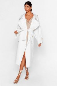 NASTY GAL x Josefine H.J Don't Sugar Coat It Belted Trench Coat in White