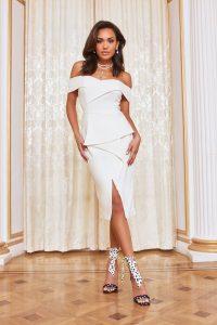 LAVISH ALICE double bardot midi dress in white – off shoulder bodycon dresses