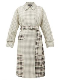 PROENZA SCHOULER Double-breasted checked twill trench coat in off-white | check print coats