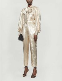 DUNDAS Tapered high-rise silk-blend trousers in gold ~ evening glamour