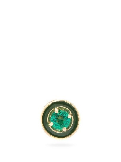 ALISON LOU E emerald & 14kt gold single stud earring in green | small round studs - flipped