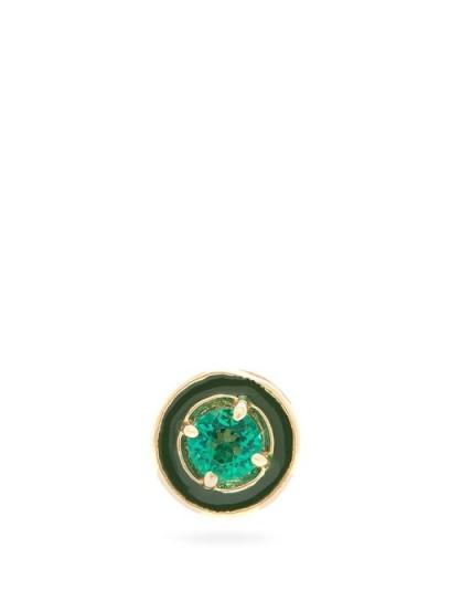 ALISON LOU E emerald & 14kt gold single stud earring in green | small round studs