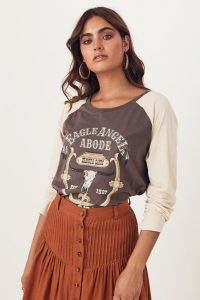 SPELL & THE GYPSY COLLECTIVE EAGLE ANGEL ORGANIC RAGLAN Charcoal / slogan T-shirts