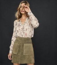 REISS ELM SUEDE MINI SKIRT KHAKI ~ classic green front pocket A-line skirts