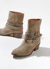 MINT VELVET Elsa Taupe Suede Biker Boots