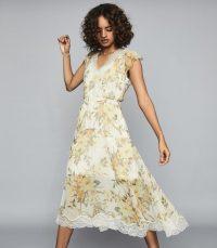 Reiss EMLIN FLORAL PRINTED MIDI DRESS IVORY ~ semi sheer fashion