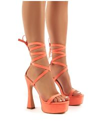 PUBLIC DESIRE ENDGAME CORAL FAUX SUEDE LACE UP PLATFORM HIGH HEELS – bright strappy platforms
