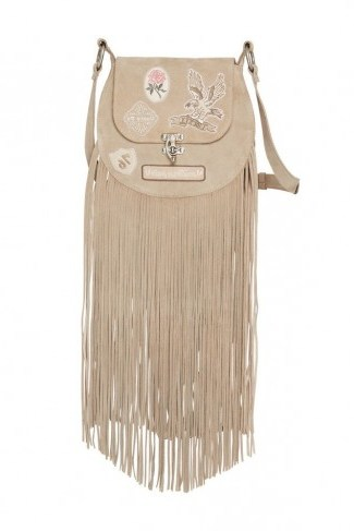 SPELL and the GYPSY COLLECTIVE ERIN EVENING BAG Dove | fringed shoulder bags | festival style handbags - flipped