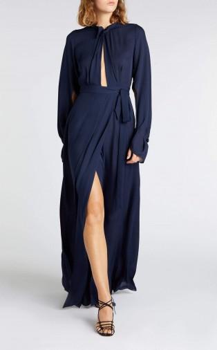 ROLAND MOURET EVORA GOWN in NAVY ~ dark blue gowns ~ elegant evet dresses