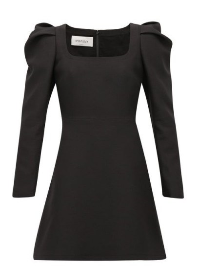 VALENTINO Exaggerated-shoulder wool-blend crepe dress in black | LBD - flipped