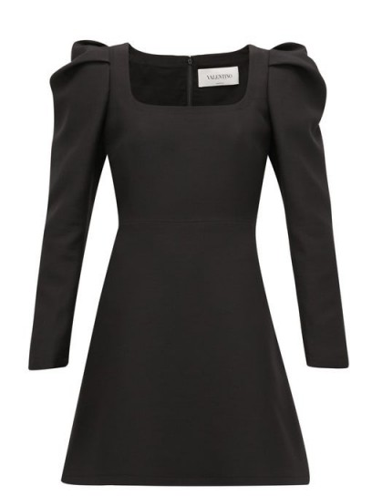 VALENTINO Exaggerated-shoulder wool-blend crepe dress in black | LBD