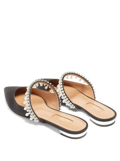 AQUAZZURA Exquisite faux-pearl & crystal suede mules in black ~ glamorous evening flats - flipped