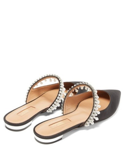 AQUAZZURA Exquisite faux-pearl & crystal suede mules in black ~ glamorous evening flats