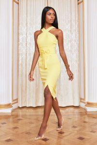 LAVISH ALICE eyelet belted halterneck midi dress in lemon yellow
