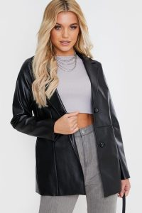 FASHION INFLUX BLACK PU SINGLE BREASTED TAILORED JACKET
