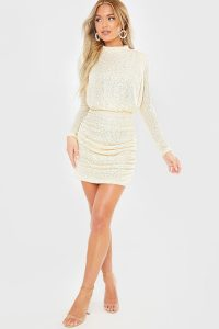FASHION INFLUX CREAM SEQUIN HIGH NECK OPEN BACK MINI DRESS – sequinned dresses