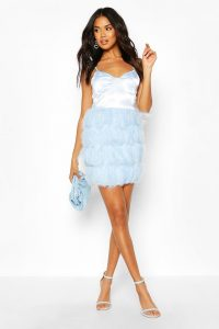 boohoo Feather Skirt Mini Dress in blue