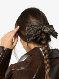 Fendi Brown F Logo Silk Bow Hair Clip