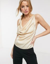 Finders Keepers gabriella cami in champagne – cross back camisole
