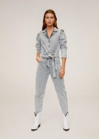 MANGO Flecked denim jumpsuit in grey REF. 67064415-ACID-LM