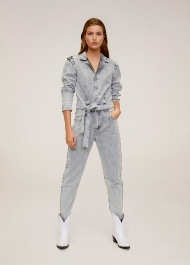 MANGO Flecked denim jumpsuit in grey REF. 67064415-ACID-LM - flipped