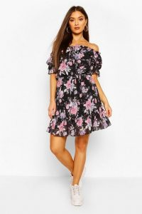 Boohoo Floral Off Shoulder Ruffle Detail Midi Dress Black