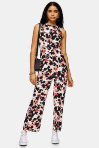 TOPSHOP Floral Print Jumpsuit / sleeveless jumpsuits