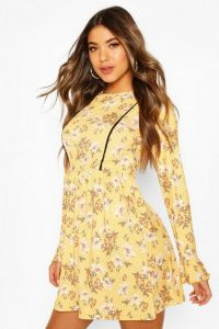 Boohoo Floral Print Smock Dress With Lace Insert Yellow