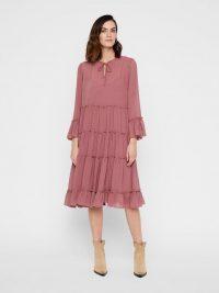 YAS FLOUNCY TIERED MIDI DRESS Purple / Burnished Lilac – floaty semi-sheer dresses