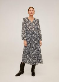 MANGO Flowy long dress in off white REF. 67074410-PRARIE-LM