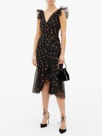 TEMPERLEY LONDON Fortuna glitter-spade asymmetric tulle dress in black / LBD