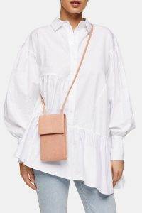 Topshop FRANCIS North/South Cross Body Bag in Peach