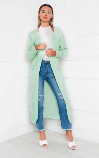 Ikrush Freya Longline Knitted Cardigan in Mint – long cardigans