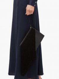 HILLIER BARTLEY Fringed full-grain leather pouch in black