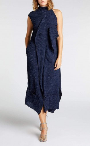 ROLAND MOURET FRYE DRESS in NAVY ~ draped dresses