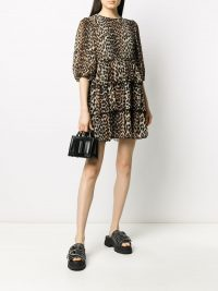 GANNI leopard print tiered dress in brown/black