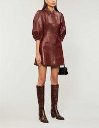 GANNI Puffed-sleeve leather mini dress in decadent chocolate