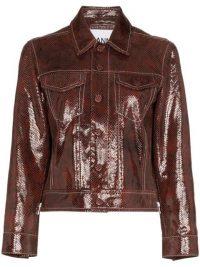 GANNI snake-print leather jacket in Brown