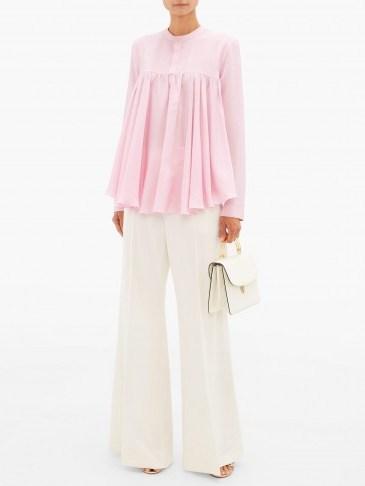 GIAMBATTISTA VALLI Gathered silk crepe de Chine blouse – matches fashion - flipped