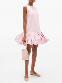 VALENTINO Gathered-hem cotton-blend faille mini dress in light pink | voluminous hems