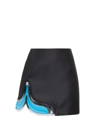 CHRISTOPHER KANE Gel-panel satin mini skirt in black