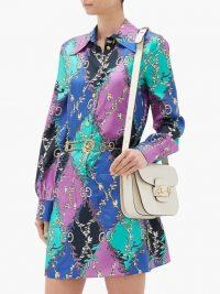 GUCCI GG diamond-print silk-twill mini dress in purple | vintage look fashion