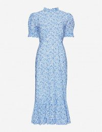 GHOST Solene floral print maxi dress in blue / frill trimmed dresses