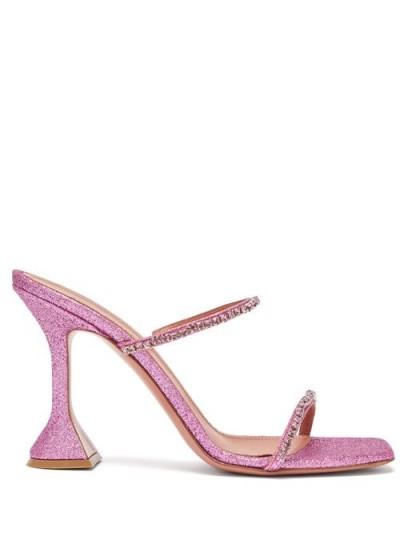AMINA MUADDI Gilda crystal-embellished glittered sandals in fuchsia-pink